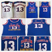 NCAA Harlem Globetrotters Wilt # 13 Chamberlain Mavi Basketbol Forması Dikişli Kansas Jayhawks Koleji Wilt Chamberlain Beyaz Formalar Gömlek