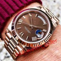 2020 Topselling Мужские Роскошные Часы Мастер 40 мм Сни-дата 228235 228239 Кофейный циферблат Президент Президент Эвероза Механическое автоматическое движение