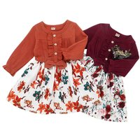 Fashion Girl Kleider Frühling und Herbst Girls' Rural Druck Jeans Lotosblatspitze Cotton Top-Blumen-Rock Kinderbekleidung