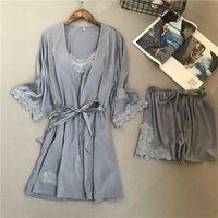 2018 Voplidia ressort trois pièces Set sexy peignoir femmes pyjamas Régl.nouv chemise de nuit de nuit Pyjama Pijama Feminino Pyjama