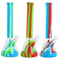 "13.9""New beaker Silicone Bongs smoking glass pipe food grade Silicone Water Pipes hookah shisha Dab Rig Recycler"