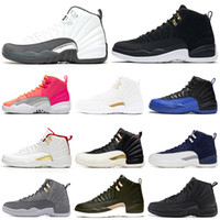 nike retro air jordan aj12 12 12s scarpe da basket uomo Bulls Michigan College Navy UNC NYC Vachetta Tan Wheat Grigio scuro Bordeaux playoff Flu Game uomo Sport sneakers