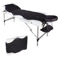 Lit de massage portable Waco, 3 sections Spa Mobilier de beauté, Tube en aluminium pliant Tableau d'appui-tête réglable, Table de salon du corps du visage - Noir avec bord blanc