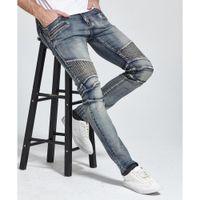 Erkekler İyi Kalite H1703'ün için yeni Erkekler Jeans Tasarım Biker Jeans Skinny Streç Casual Jeans