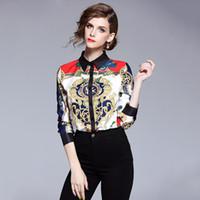 Tops y blusas para mujer Camisa de la pista de alta calidad para mujeres Camisas de manga larga Imprimir Vintage Blusa Feminina Manga compreida