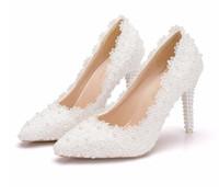 Romantik İnciler Beyaz Dantel Düğün Ayakkabı Gelin Için 9.5 Ucuz Ücretsiz Kargo Gelin Ayakkabı Makara Topuk Sivri Burun Balo Abiye