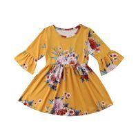 Flor do bebê Crianças Dress Chifre manga princesa Partido Pageant Vestidos Formais