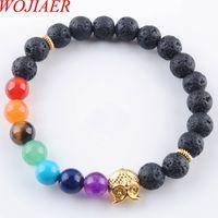 Wojier 8mm preto vulcão pedra redonda grânulos coruja pulseiras 7 chakra cura mala meditação oração yoga mulheres jóias dk3249