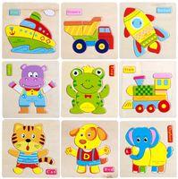 Дети Смешные Деревянные Животных Головоломки Автомобиля Головоломки Малыш Дети Обучения Образовательные Игрушки