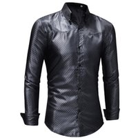 333063 RUIKE Chemise Homme Casual Slim Fit Shiny Gold Dress ...
