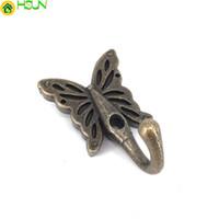 5PCS 35 * 56MM Vintage bronzo decorazione ganci appendiabiti farfalla metallo gancio di stoccaggio a parete asciugamano cappello gancio borsa