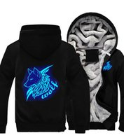 New Wolves Glowing Hoodies Zipper Sweat Jacket Wolf Lumineux Hiver Chaud Polaire Épaissir Casual Manteau À Capuche Dropshipping