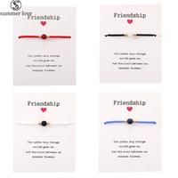 Trendy handgemachte Naturstein-Armbänder mit Freundschafts-Karten Papierschnur Reis Perlen gesponnenes Armband für Frauen-Männer-justierbares Armband-Z