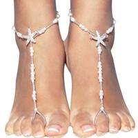 Perle moda Sandali a spiaggia a piedi nudi per matrimoni cristalli Starfish catena cavigliera Cheap Toe anello da sposa damigella d'onore gioielli piede regalo