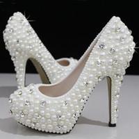 2020 Luxuoso Pérolas Cristais Branco Sapatos De Grife De Casamento Tamanho 12 cm de Salto Alto Sapatos De Noiva Partido Prom Mulheres Sapatos Frete Grátis