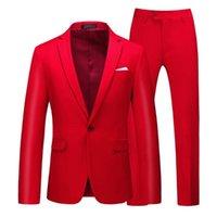 Herrenanzüge Blazer Männer Anzug 2021 Einfache Blazer Massive Farbe 2 Stück Klassisches Unternehmen Casual Slim Multicolor Hochzeit Bräutigam Tuxudo