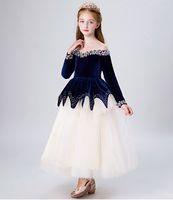 Grace Azul / Marfim Tule Contas Da Menina de Jóias Pageant Vestidos Da Menina de Flor Vestidos de Festa de Princesa Criança Saia Custom Made 2-14 H317482