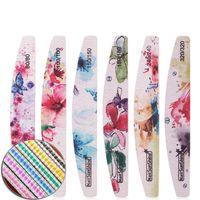 Mode Druck zweiseitige Nagelfeile Sandpapier Halbmond Nagelfeile gedruckt polierten Streifen 80/100/150/180/240/320 geben Schiff 100pcs frei
