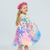 Sirena Sequin Cape Cosplay Baby Kids Girls Glittering Princess Mantello Con Perline Bambini Costume Del Partito di Halloween Abbigliamento Forniture HH9-2262