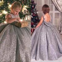 Sparkly lentejuelas 2020 flores Vestidos de niña tripulación vestido de bola vintage niño desfile vestidos hermosos para bodas