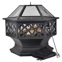 Merax barbacoa pozo de fuego Hexágono multifuncional con chispa Protección de jardín de fuego del metal cesta - Negro