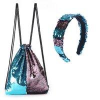 Mermaid paillettes Sport sacchetta doppio colore lucido paillettes Outdoor Leisure Zaino Esecuzione Petto coulisse Borse con archetto