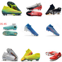 Red Gold 100% Chaussures originales de football Cristiano Ronaldo CR7 Mercurial Superfly FG Homme 7 Football Bottes Baskets meilleure qualité Crampons