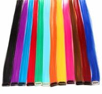 2019 Clip-in Ombre Saç Uzantıları Için Tek Parça Saf Renk Düz Uzun Sentetik Saç Sahte Adet 2 Ton Klip