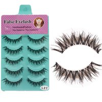 5 pares naturales gruesas pestañas falsas llenas súper largas Criss Cross pestañas Glamour 3D Strip Lashes Crisscross