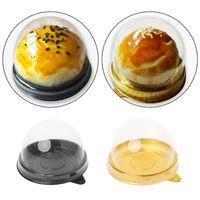 50Pcs Mini bandejas de contenedores de pastel redondos Caja de embalaje Titular Cajas de favor para banquetes de boda 50g-100g Mooncake Egg-Yolk Puff Holders