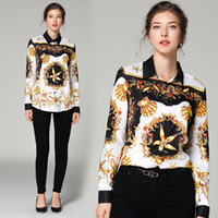 New Arrival Dropshipping Spring Summer Runway Vintage Print Collar Women Casual Office Button Down Turn Down Neck Long Sleeve Top Shirts Blouse