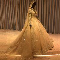 2020 verdadero de los cuadros a largo vestido de novia Una línea Mangas musulmanes con velos parte posterior del corsé Arabia Arbian Dubai del hombro más el tamaño de vestido de novia