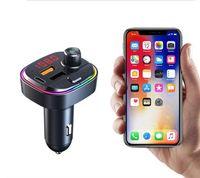 C13 C14 C15 C12 FM-передатчик Беспроводной Bluetooth 5.0 Handsfree Автомобиль MP3 Комплект FM Модулятор Dual USB Type-C PD Зарядное устройство RGB Lights