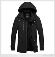 Erkek Kış Moda Sıcak Ceketler Mont Kalın Kürk Yün Astar Sıcak Ceketler Giyim Erkek Giyim Hommes Düz Renk Mont L-5XL