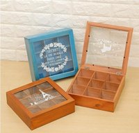 Multifunctional 1 4 9 Girds Vintage wooden storage box Jewel...