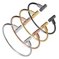 Bileklik T-şekilli titanyum çelik bilezik ayarlanabilir boyutu basit ve zarif takı yuvarlak tel toptan