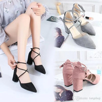 2019 Korean version of the new pointed pink high heels in th...