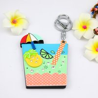 Fruit compact square mirror keychain summer design pineapple...