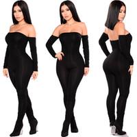 Frauen Art und Weise Bodycon Overall-Spielanzug, kurze Overall-Partei Langarm weg von der Schulter-dünne lange Hose Damen Bekleidung
