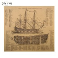 1 pcs Ancient Warships Design Drawings Movie Kraft Paper Pos...