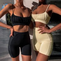 2021 Kadın Kadınlar 2 adet Elbise Eşofman Giyim Seti Yaz Spor Rahat Katı Kıyafet Üst Kırpma Yelek Yüksek Bel Şort Kostüm Giyim