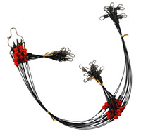 Línea de pesca de acero inoxidable recubierto de nylon de 12 piezas 60 cm 2 brazo Cable negro Líderes Trazar alambre de acero de pesca con broche giratorio