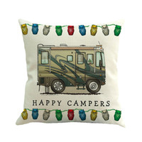 Home Decor Ornate HAPPY CAMPERS Sofa Waist Throw Cushion Pil...