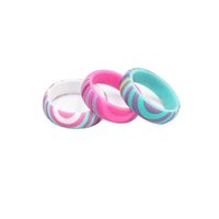 Bohemian Silicone Rings 5. 7mm Colorful Rainbow Print Band Ri...