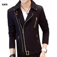 Idopy mode coréenne hommes de style veste moto irrégulière Zipper Slim Fit Zip Up collier manteau multi Lapel-tirettes Homme