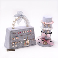 [DDisplay] Forever Lover Pink Ring Jewelry Display Especial Ice Velvet Earring Studs Organizador Soporte Bolso Forma Gris Joyería Holder