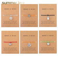 حبل اليدوية 5 اللون الشمع سوار مزين سحر للنساء الرجال الفيل حياة شجرة الصداقة الحب السلاحف قلادة سوار مع بطاقة الرغبات