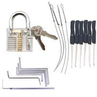 Attrezzi del fabbro Pratica Trasparente Kit Lock Con chiave rotta estrattore Chiavi Strumenti Rimozione Ganci Hardware
