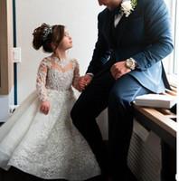Filles de Noël Pageant robe de perles de perles majeures Approquence dentelle pure col enfants robe de mariée manches longues fleur girl robe vestidos