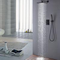 황동 블랙 샤워 세트 욕실 온도 조절 10 인치 레인 샤워 헤드 수도꼭지 샤워 시스템 홈통 분배기 믹서 휴대용 스프레이